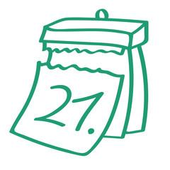 Handgezeichneter Kalender - Tag 21 in grün