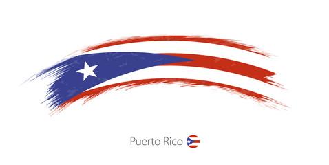 Flag of Puerto Rico in rounded grunge brush stroke.