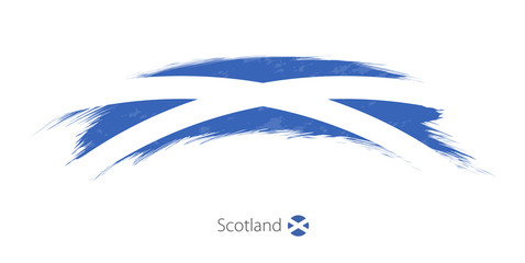 Flag of Scotland in rounded grunge brush stroke.