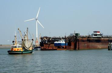 Activity in the harbor of Lauwersoog