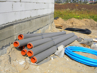 Hot water supply system plastic pipe insulation for energy saving.