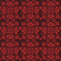 Seamless red floral pattern, vector. Endless texture can be used for wallpaper, pattern fills, web page background, surface textures and fabrics.
