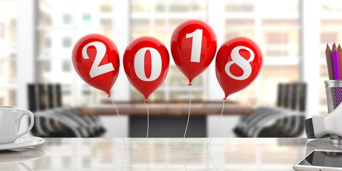 Year 2018 on red balloons, office background. 3d illustration