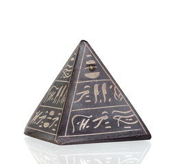 Stone pyramid with Egyptian inscriptions