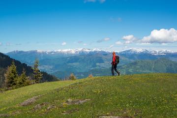 Traveler walks along mountain green meadow