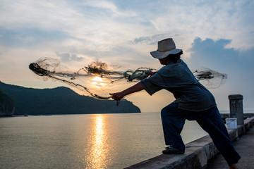 thai local fishing man in klong warn prachuap khiri khan southern of thailand Fotomurales