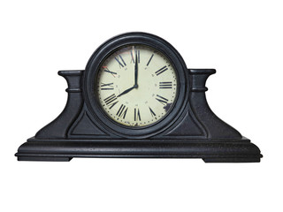 Antique wooden brown table vintage clock with roman digits
