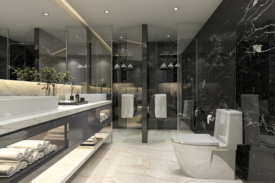 3d rendering modern black bathroom with luxury tile decor