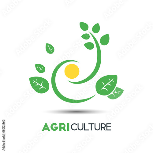 Agriculture Business Vector Logo Template. Unique Green Leaf With ...