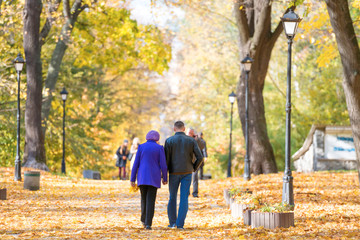 Young couple walking in the autumn city park