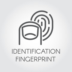 Fingerprint identification line icon. Identity biometric scanning. Verification system. Authentication technology in mobile phones, smartphones and other devices and locks. Vector outline pictograph