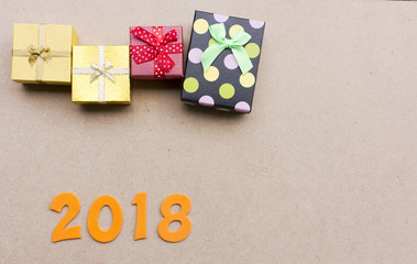 Number 2018 with Gifts  , For the new year 2018 green background