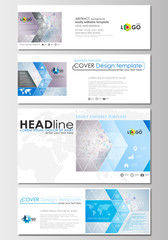 Social media and email headers set, modern banners. Business templates. Cover design template, flat layout in popular formats. Molecule structure on blue. Science healthcare background, medical vector