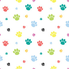 Animal Paw Print Colorful Seamless Pattern