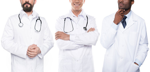 multicultural doctors in white coats