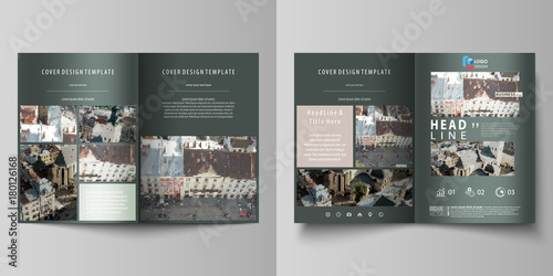 Business Templates For Bi Fold Brochure Magazine Flyer Report Cover Design Template