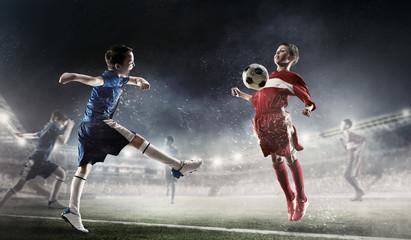 Children play soccer. Mixed media