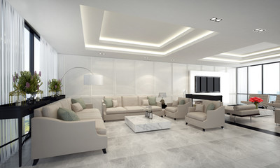 The luxury living room interior design and white pattern wall
