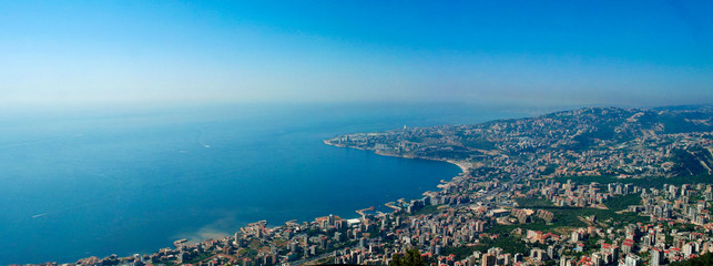 Aerial panoramic view to Jounieh city and bay, Lebanon