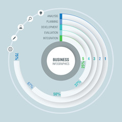 Colorful business infographics, radial chart, diagram with 5 percentages. Vector illustration business template