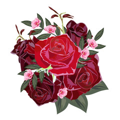 Bouquet of red and burgundy roses. Decor elements for greeting cards, wedding invitations, birthday and other celebrations. Isolated on white background.
