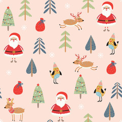 Seamless pattern with Santa