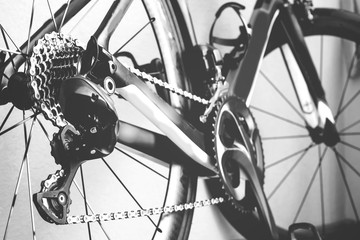 Bicycle details black and white frame, road bike parts