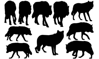 Wolf Silhouette Vector Graphics