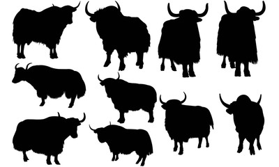 Yak Silhouette Vector Graphics