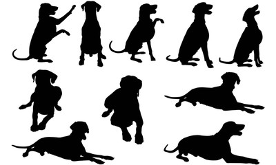 Dobermann Dog Silhouette Vector Graphics