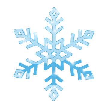 Snowflake. Blue symbol isolated on white background