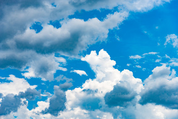 White cloud and rain cloud on blue sky background image.