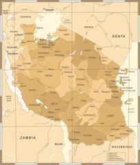 Tanzania Map - Vintage Vector Illustration