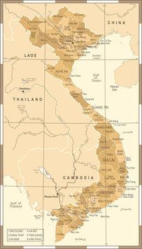 Vietnam Map - Vintage Vector Illustration