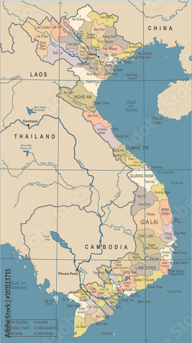 Vietnam Map Vintage Vector Illustration Stock Image And Royalty