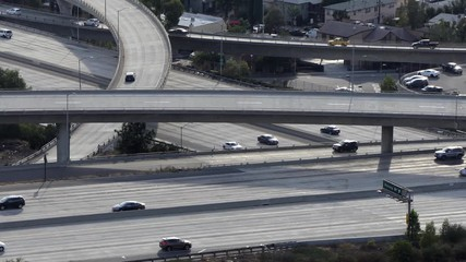 022 Moving Freeway Traffic At The Ventura 134 And Glendale 2 Interchange In Los Angeles California