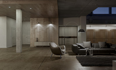 Living room with leather armchair 3D rendering