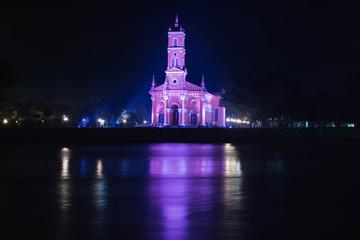 タイ国 アユタヤ セントジョセフ教会の夜景ライトアップ