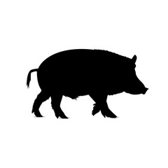 Silhouette of running boar.