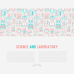 Science and laboratory concept with thin line icons of scientist, dna, microscope, scales, magnet, respirator, spirit lamp. Vector illustration for banner, web page, print media.
