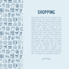 Shopping concept with thin line icons: cashbox, payment, pos terminal, piggy bank, sale, currency, credit card, trolley. Vector illustration for banner, print media.