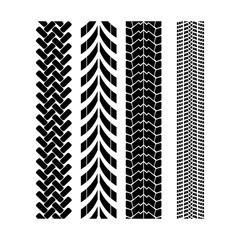Tire track brush seamless border vector.
