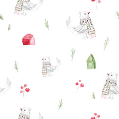 Watercolor christmas seamless pattern with houses and rustic birds in scandinavian style. Cartoon illustration