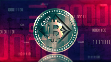 Virtual cryptocurrency Bitcoin Cash sign in digital cyberspace