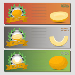 Abstract vector illustration logo for whole ripe fruit yellow melon