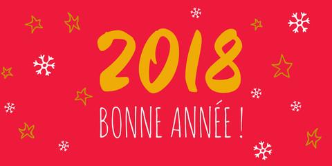 Bonne Année 2018 jaune fond rouge étoile