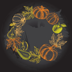 Thanksgiving Background. Wreath with Ink hand drawn pumpkins, pears, apples and maple leaves. Autumn harvest elements composition. Vector illustration.