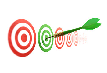 Green dart in target