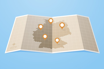 Map of Germany with location markers vector illustration flat style