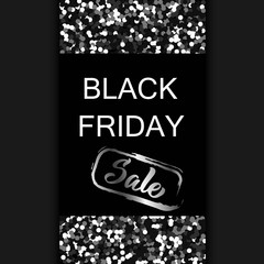 Black friday flyer design with black glitter texture particles realistic effect, on dark background, with custom hand lettering. Vector illustration.;